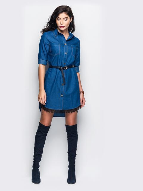 Джинсовое платье-рубашка с отложным воротником - 11429, фото 1 – интернет-магазин Dressa