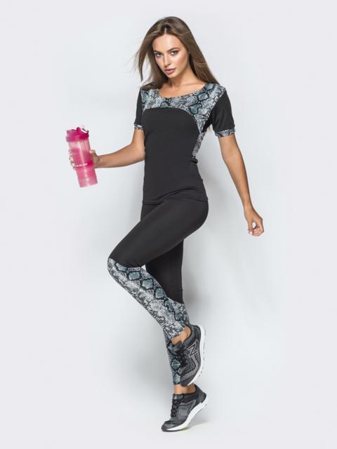 Комплект для фитнеса с анималистическими вставками - 38771, фото 1 – интернет-магазин Dressa