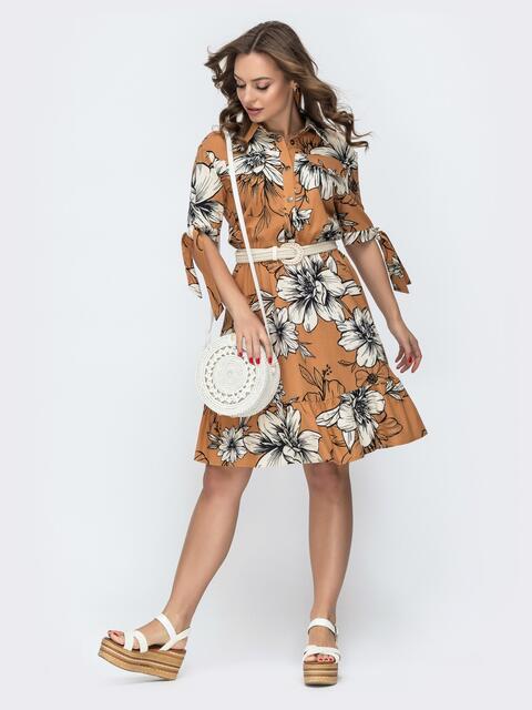 Льняное платье с принтом и резинкой по талии коричневое 46605, фото 1