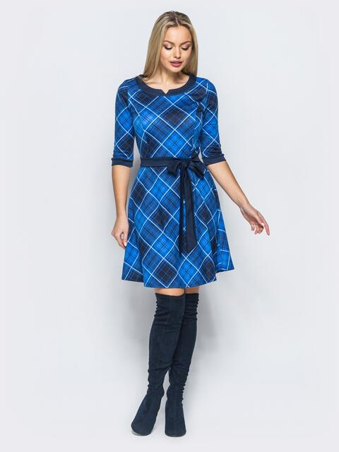 Платье в клетку синего цвета с юбкой полусолнце - 17481, фото 1 – интернет-магазин Dressa