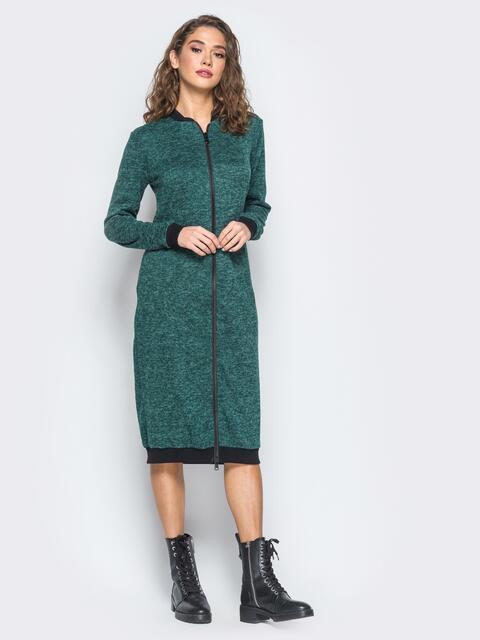 Платье зелёного цвета с двумя бегунками на молнии - 17485, фото 1 – интернет-магазин Dressa