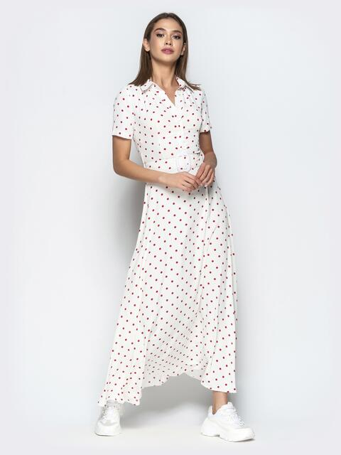 40face223296e09 Приталенное платье-макси в красный горох белое - 22112, фото 1 – интернет-