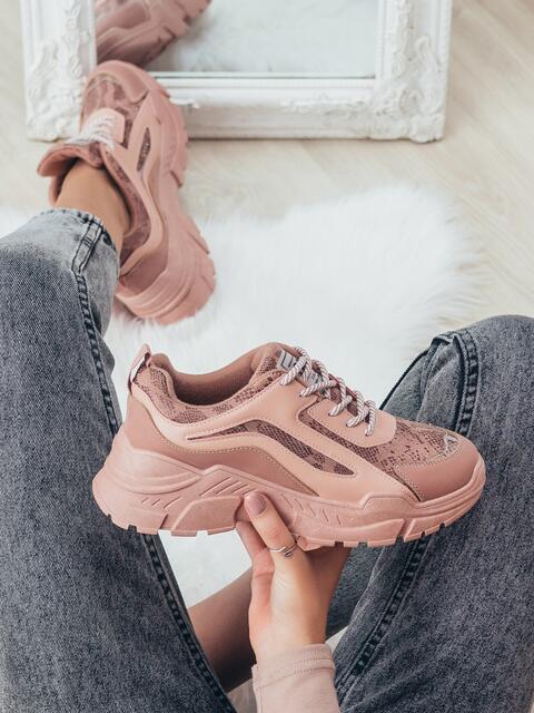 Пудровые кроссовки со вставками 50599, фото 1