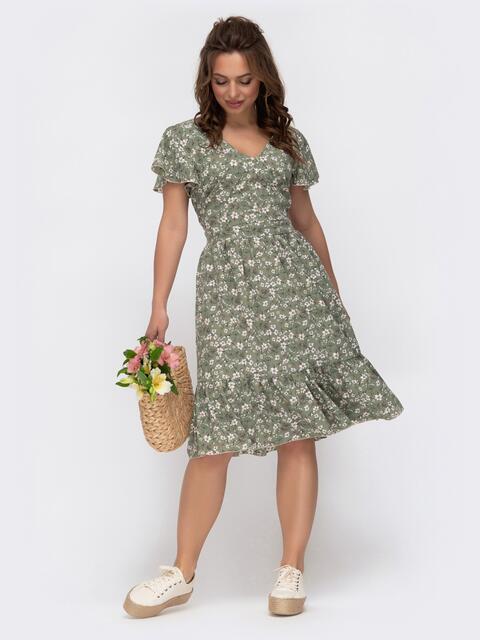"""Расклешенное платье с принтом и рукавом """"крылышко"""" зеленое 47294, фото 1"""