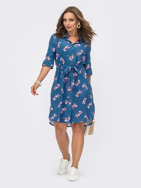 Синее платье-рубашка с кулиской по талии 54115, фото 1
