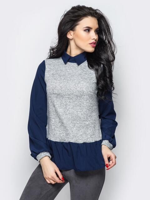 Стильная блузка из двух видов ткани синяя - 12337, фото 1 – интернет-магазин Dressa