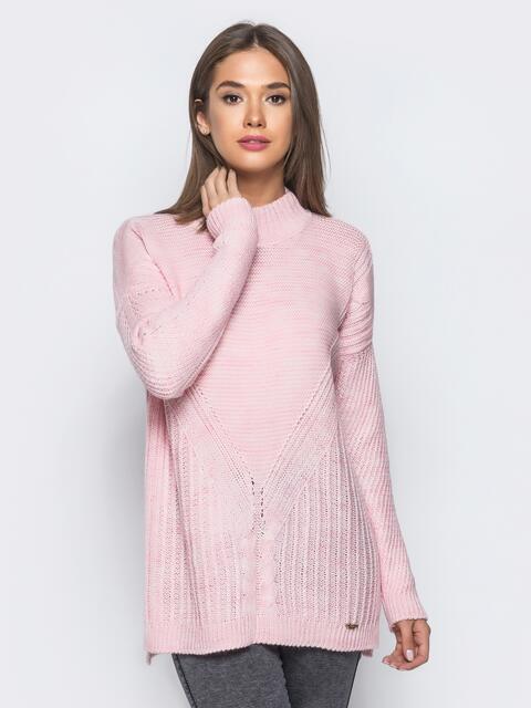 Удлиненный розовый свитер ажурной вязки - 17093, фото 1 – интернет-магазин Dressa