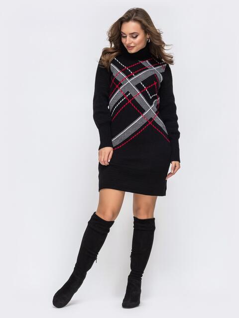 Вязаное платье с геометрическим узором чёрное - 43728, фото 1 – интернет-магазин Dressa