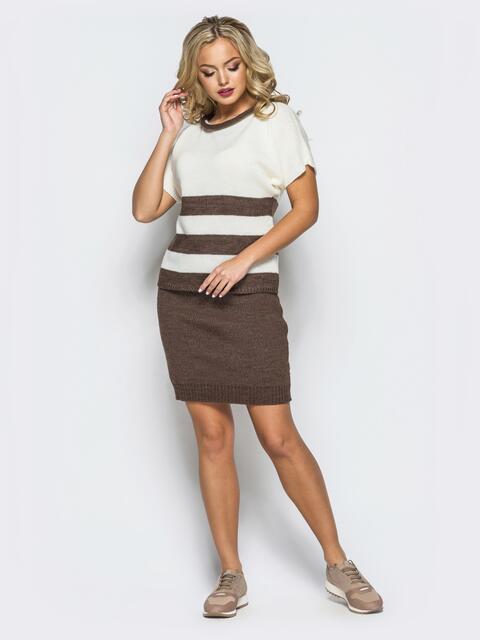 Вязаный комплект бело-коричневого цвета с юбкой - 17112, фото 1 – интернет-магазин Dressa