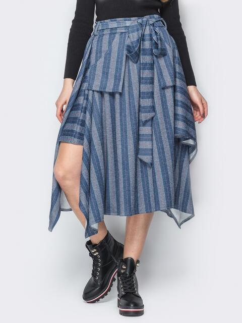 Асимметричная юбка в полоску с карманами синяя 20188, фото 1