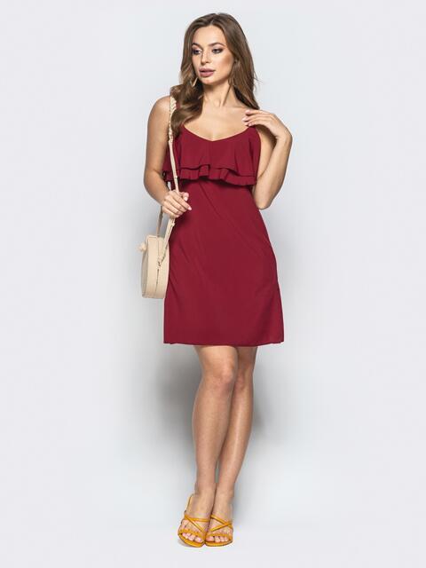 2b996a230ec Бордовое платье на тонких бретелях с оборками по верху 22227 ...