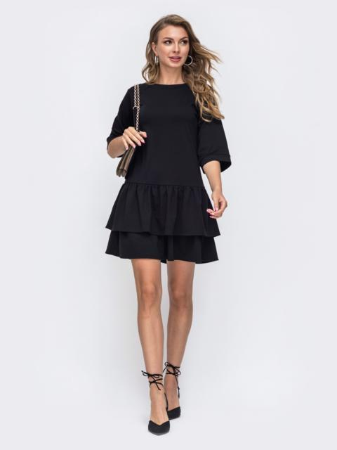 Чёрное платье-миди с двойным воланом по низу 50672, фото 1