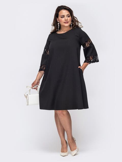Чёрное платье-трапеция большого размера - 49996, фото 1 – интернет-магазин Dressa