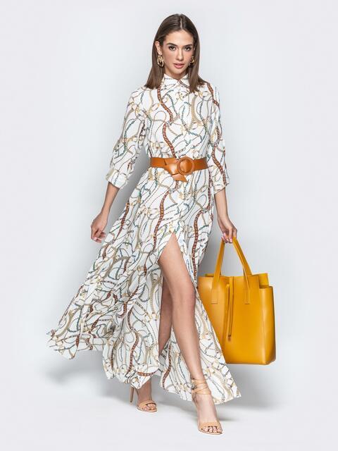Длинное платье-рубашка с принтом и поясом из кожзама - 21272, фото 1 – интернет-магазин Dressa