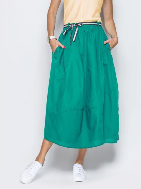 Льняная юбка зеленого цвета с карманами - 38288, фото 1 – интернет-магазин Dressa