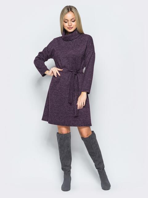 Меланжевое платье фиолетового цвета с воротником-хомут - 17578, фото 1 – интернет-магазин Dressa