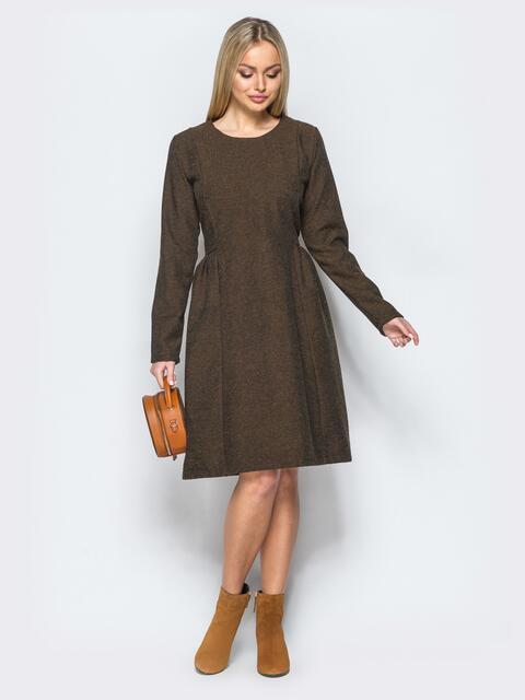 Платье кофейного цвета с молнией на спинке - 17467, фото 1 – интернет-магазин Dressa