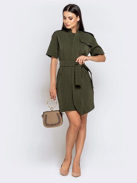 Прямое платье в полоску с воротником-стойкой хаки 41027, фото 1