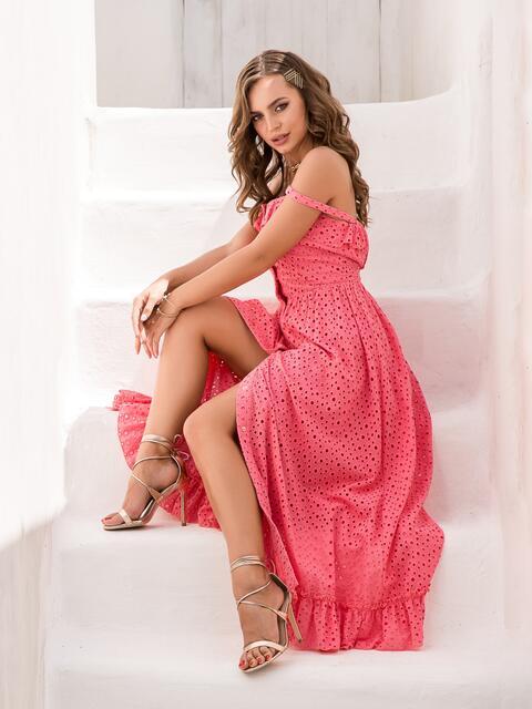 Розовый сарафан из прошвы на пуговицах - 39023, фото 1 – интернет-магазин Dressa