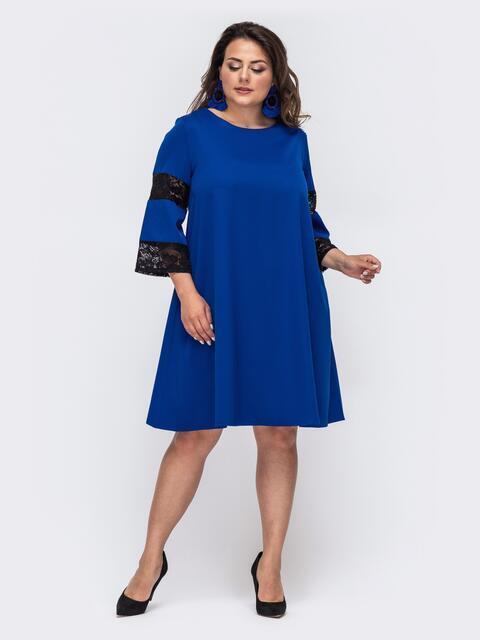 Синее платье-трапеция большого размера - 49997, фото 1 – интернет-магазин Dressa