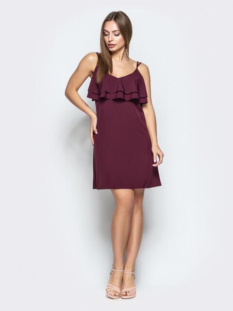 Темно-бордовое платье на узких бретелях с оборками по верху - 22226, фото 1 – интернет-магазин Dressa