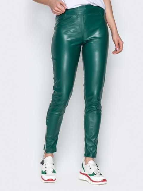 Зелёные брюки-дудочки из эко-кржи с завышенной талией - 20882, фото 1 – интернет-магазин Dressa