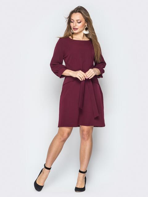419e9b1171cbca4 Бордовое платье с рукавом