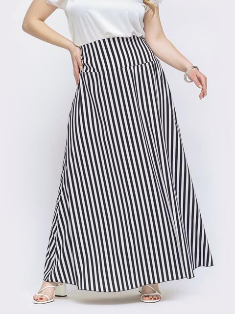 Длинная юбка большого размера в чёрную полоску 46037, фото 1