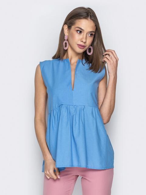 Голубая блузка с завышенной талией и V-вырезом 20511, фото 1