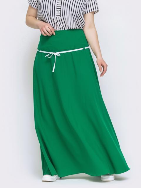 Расклешенная юбка-макси большого размера зеленая 46036, фото 1