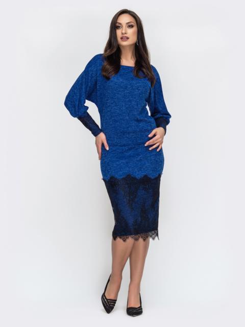 Синий комплект большого размера с кружевом по низу юбки - 44490, фото 1 – интернет-магазин Dressa