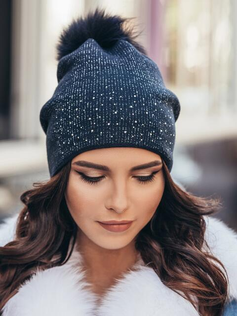 Темно-синяя шапка со стразами - 14720, фото 1 – интернет-магазин Dressa
