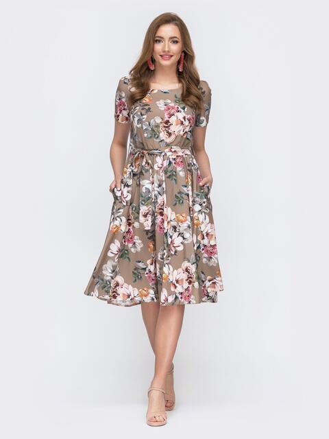 Бежевое расклешенное платье с цветочным принтом 47041, фото 1