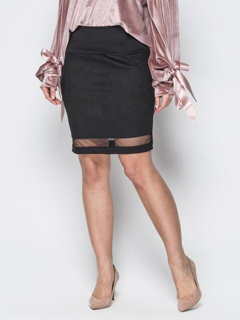 Черная юбка-карандаш из замши и фатиновой вставкой 19373, фото 1