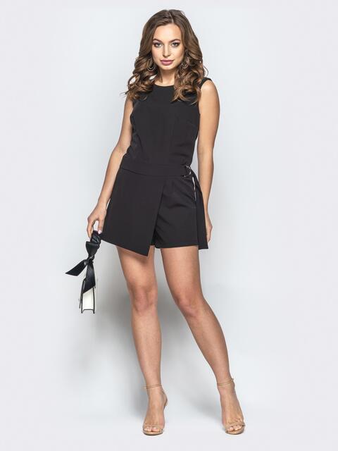 Черный комбинезон с юбкой-шортами - 21511, фото 1 – интернет-магазин Dressa