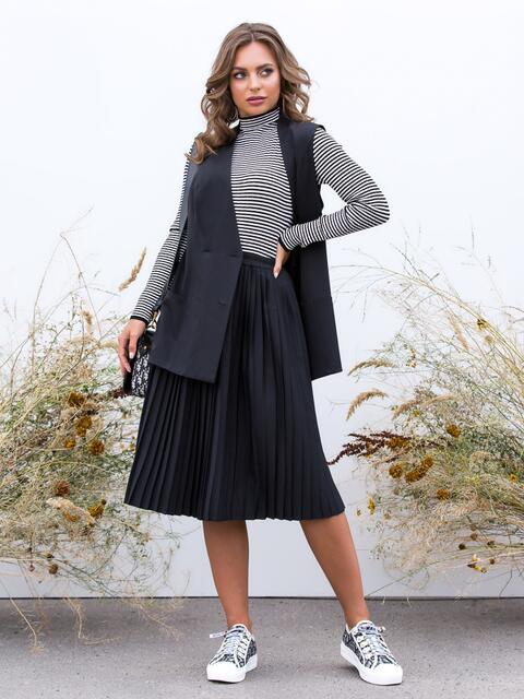 Чёрный комплект из жилета и юбки-плиссе - 40149, фото 1 – интернет-магазин Dressa