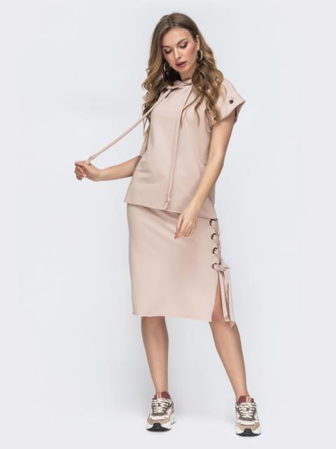 Комплект и кофты с капюшоном и юбки пудровый 45795, фото 1