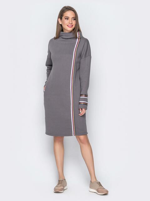 Платье в стиле oversize с лампасами серое 17948, фото 1
