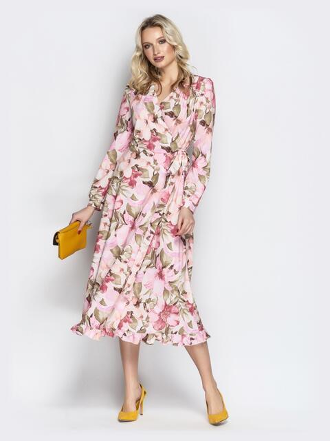 Принтованное платье из софта с запахом пудровое - 20971, фото 1 – интернет-магазин Dressa