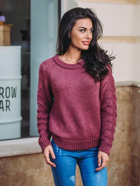 Свитер бордовый с перфорацией на рукавах - 13011, фото 1 – интернет-магазин Dressa