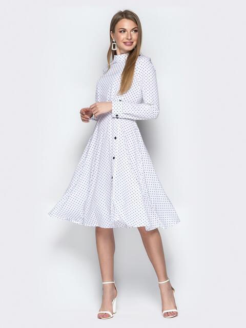 Белое платье в горошек с пуговицами и юбкой-клеш - 20620, фото 1 – интернет-магазин Dressa