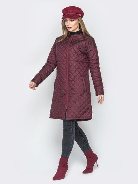 Бордовая куртка из плащевки с круглой горловиной - 19676, фото 1 – интернет-магазин Dressa