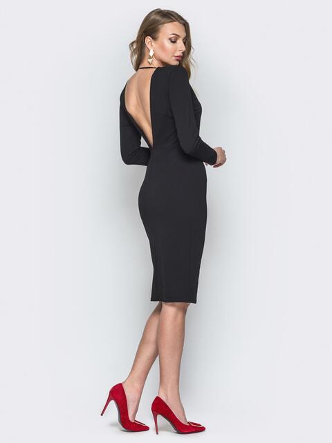 Чёрное платье-футляр с глубоким V-вырезом сзади 19857, фото 1