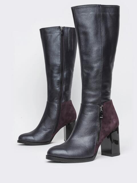 Чёрные сапоги с контрастными вставками на каблуке - 41692, фото 1 – интернет-магазин Dressa