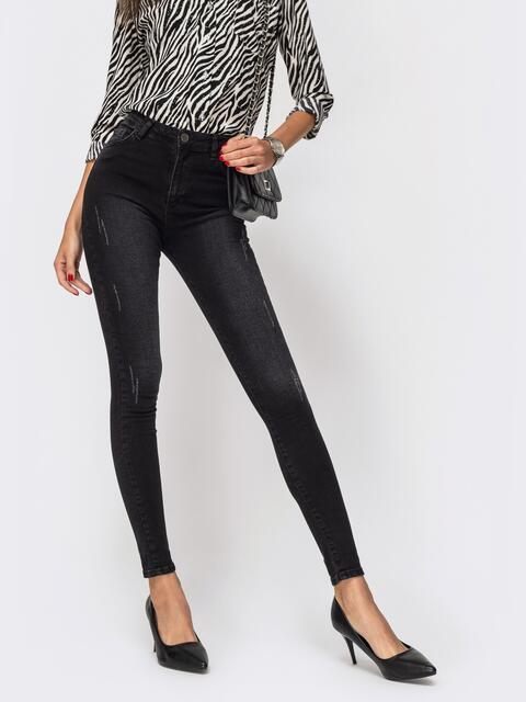 Джинсы-скинни чёрного цвета на молнии - 41936, фото 1 – интернет-магазин Dressa