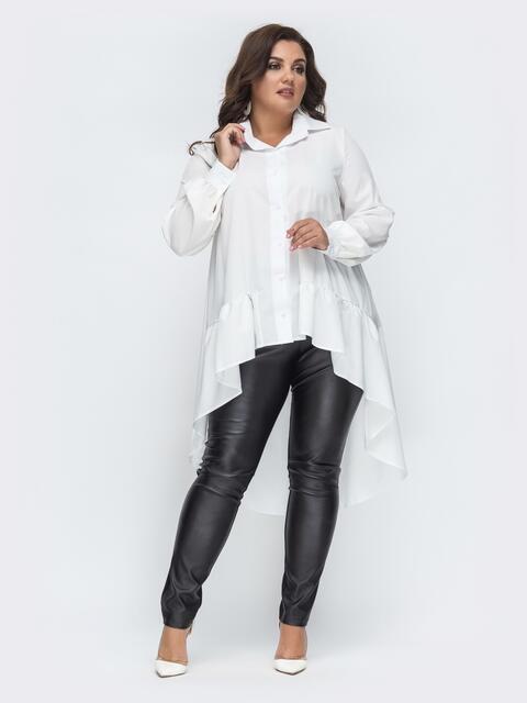 Комплект батал из блузки с удлиненной спинкой белый 45135, фото 1