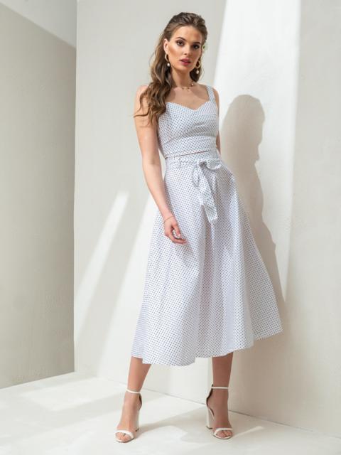 Комплект в горох из топа и юбки белый 47432, фото 1