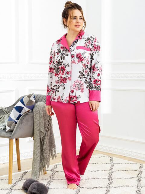 Пижама батал с цветочным принтом и брюками розовая 53182, фото 1