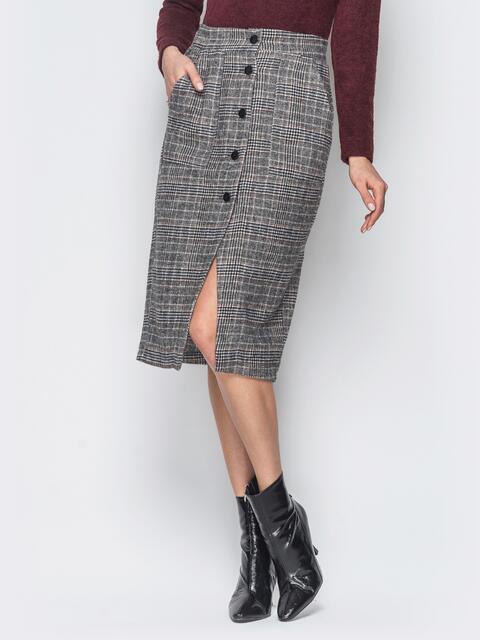 Серая шерстяная юбка в клетку  - 19176, фото 1 – интернет-магазин Dressa