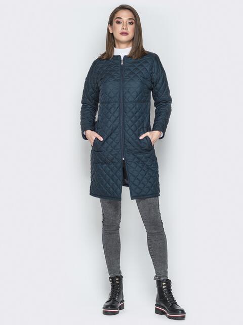 Синяя куртка из плащевки с круглой горловиной - 19675, фото 1 – интернет-магазин Dressa